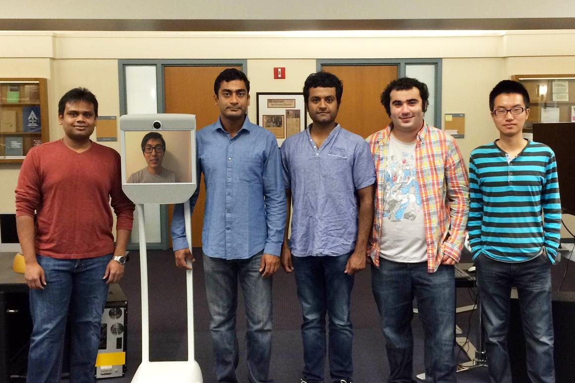 The team behind the Robo Brain project (Aditya Jami, Kevin Lee, Prof. Ashutosh Saxena, Ashesh Jain, Ozan Sener and Chenxia Wu)