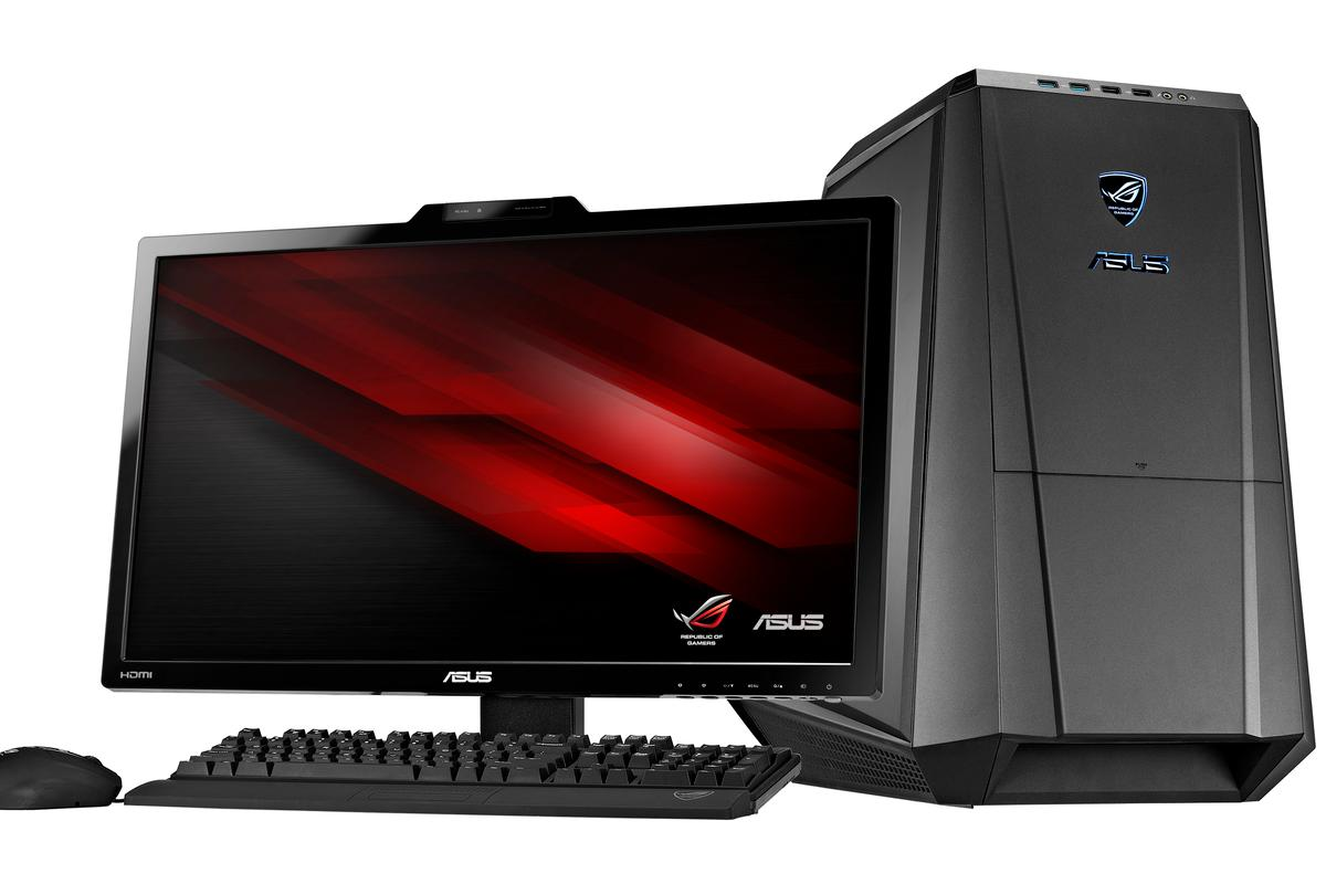 The Republic of Gamers Tytan CG8890 Gaming Desktop PC from ASUS features three on-the-fly switchable overclocking modes for its liquid-cooled 6-Core Intel Core i7 processor, a transforming case, and dual SSDs