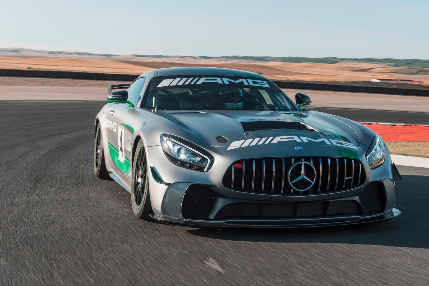 The AMG GT4 looks similar to the GT R, but it's a much more focused beast