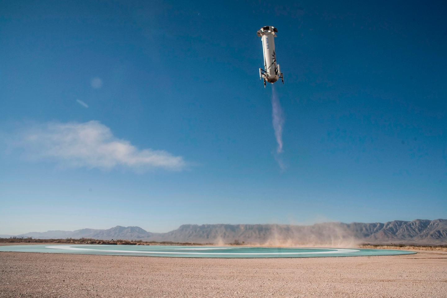 New Shepard Booster landing on the pad in West Texas after a successful Mission 7