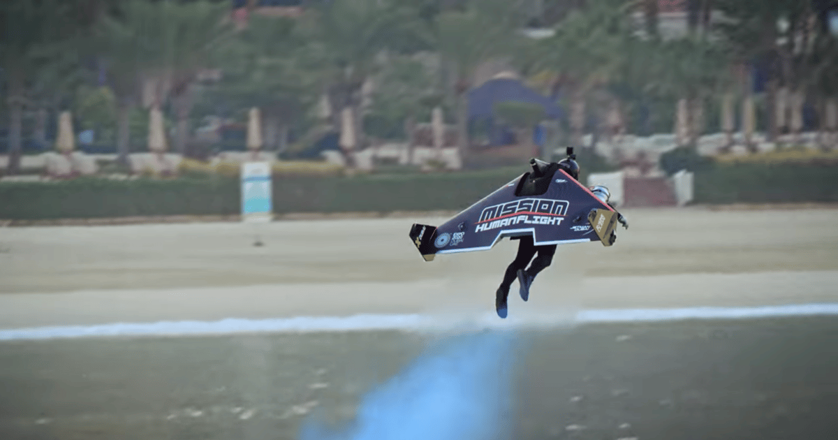 Jetman takes off from the ground and transitions to winged flight