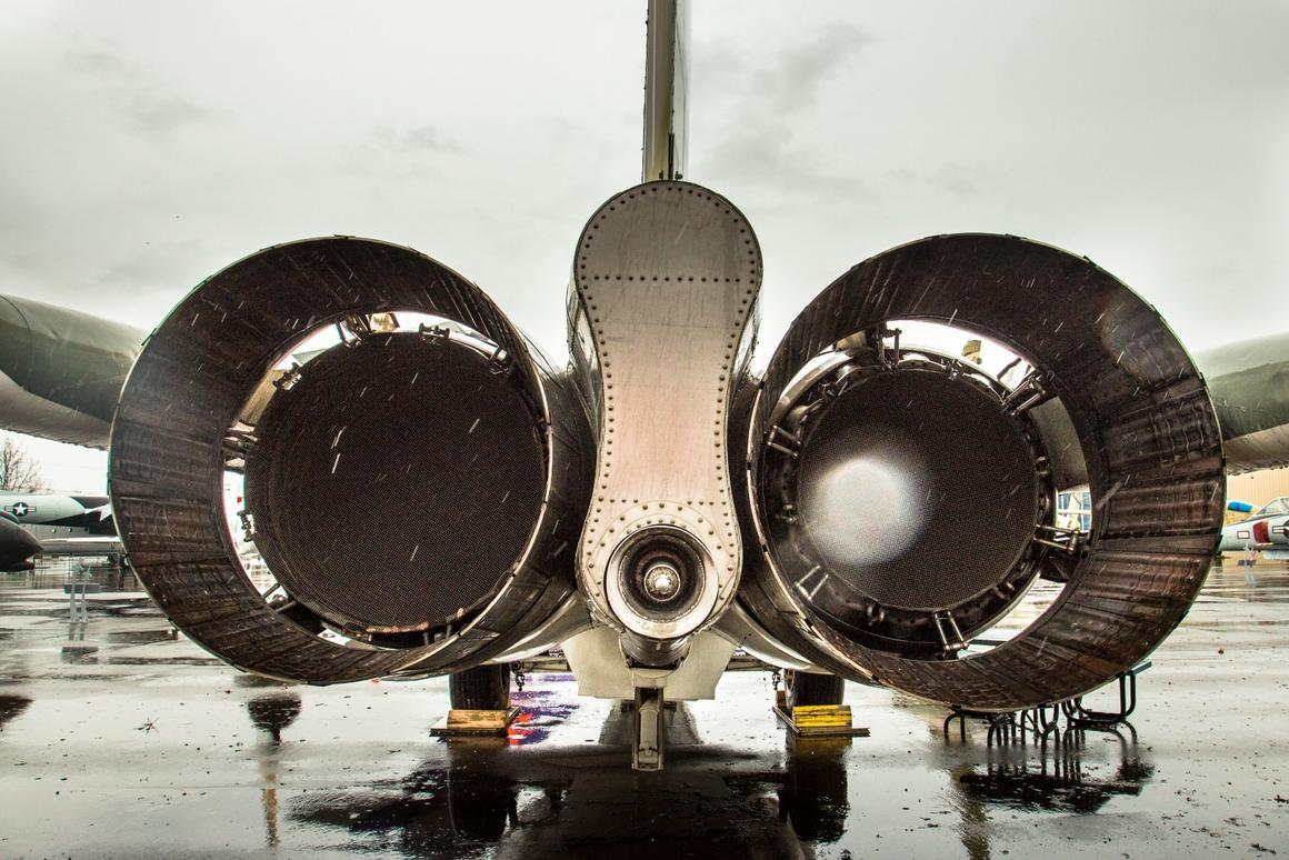 Rain falls behind the mighty Pratt & Whitney TF30-P-7 jet engines of the FB-111A, each of which puts out 19,000 lb (8,618 kg)of thrust