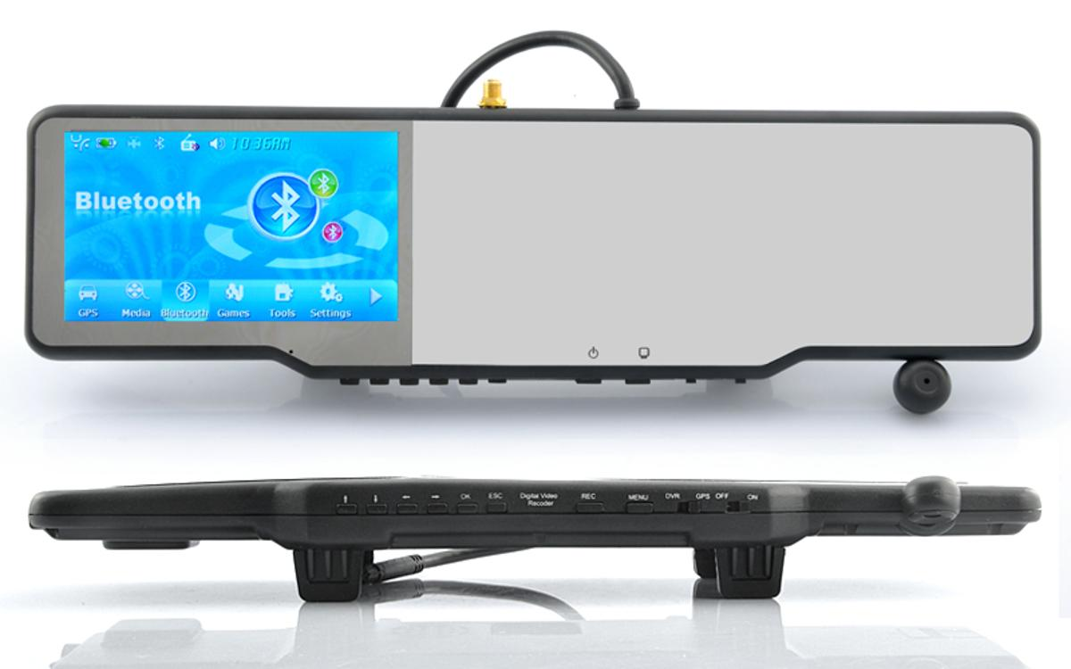 The Complete Car Bluetooth Rearview Mirror Kit turns a rearview mirror into an in-car entertainment hub