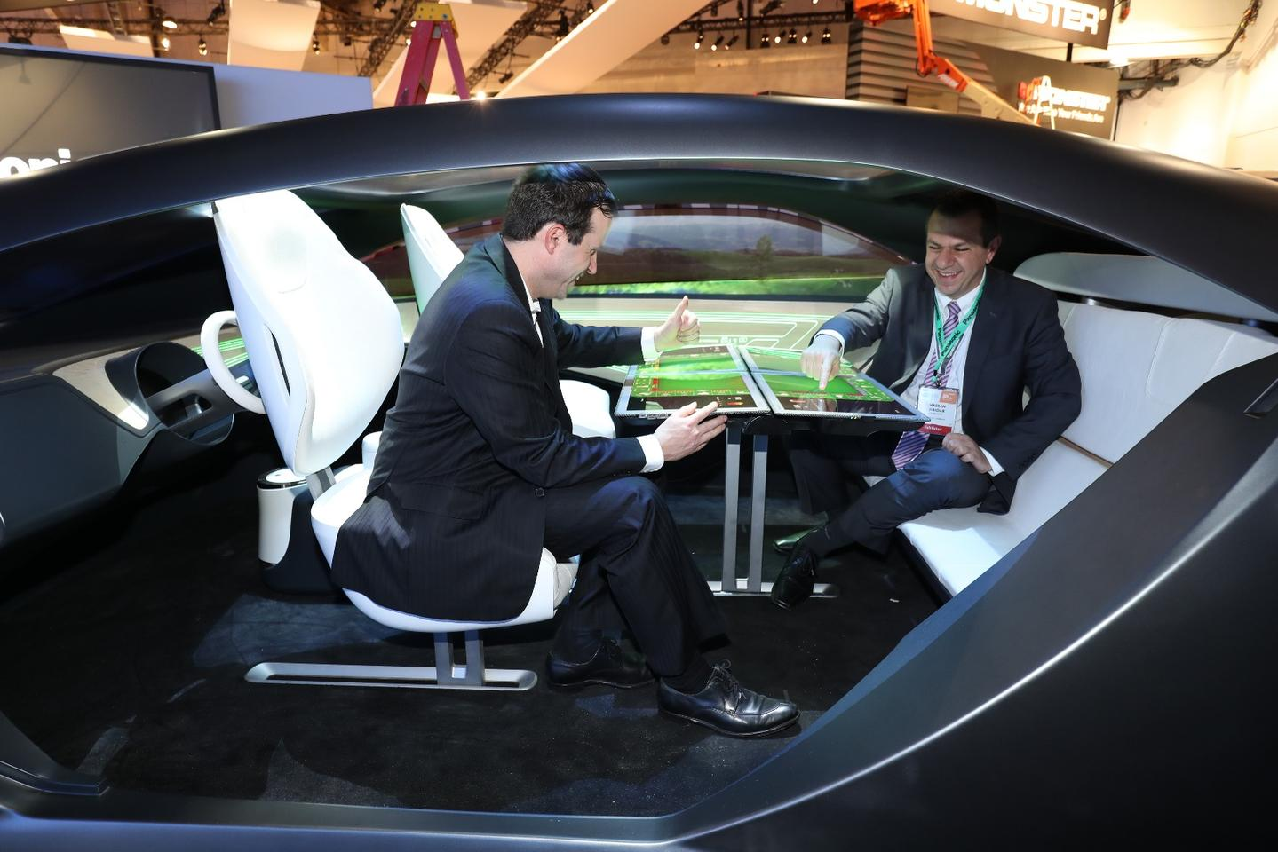 The highlight of Panasonic's Autonomous Cockpit Concept is the four-display table