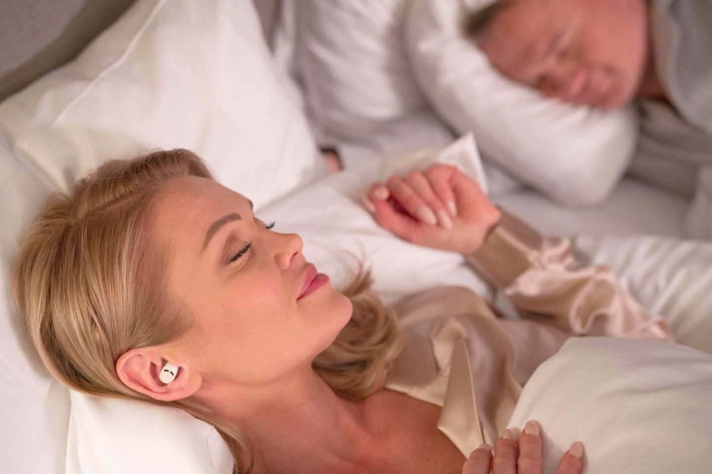 Fitting into the folds of your ear, QuietOn 3 earbuds are small enough to side-sleep with
