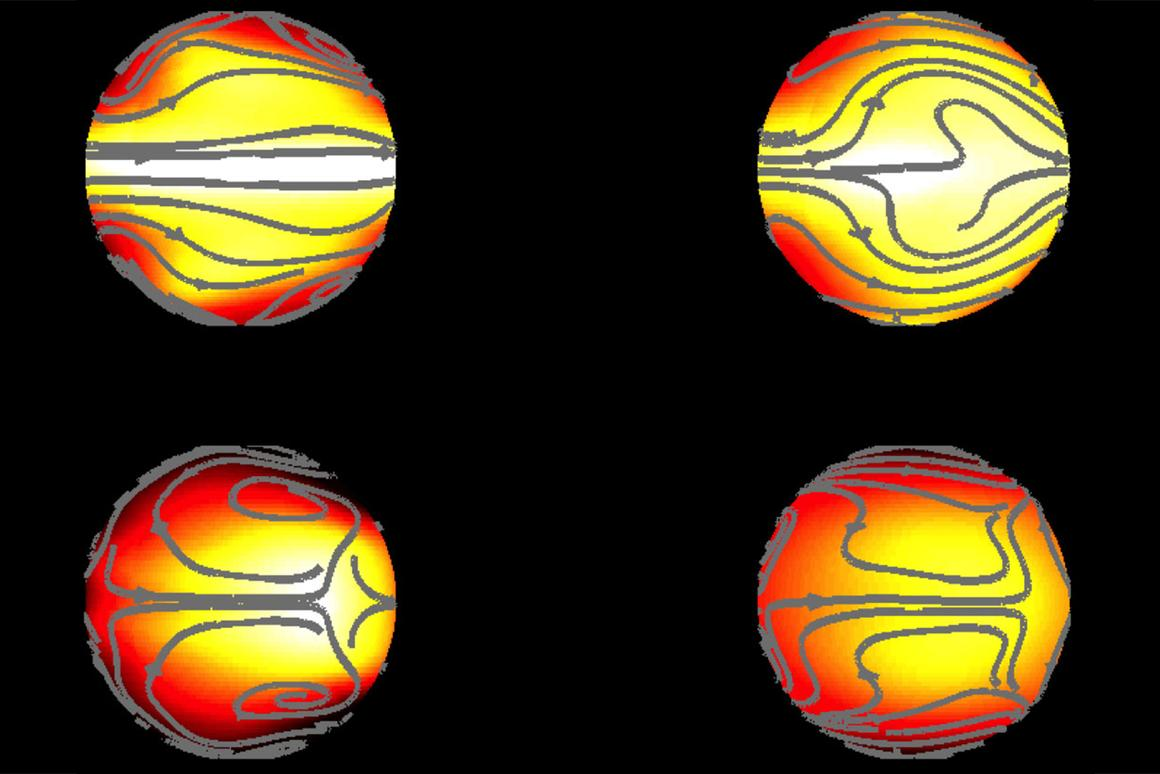 Graphic displaying the atmospheric processes at work on a simulated exoplanet with a surface friction similar to Earth (on the left) and with 10 times Earth's friction value (right)