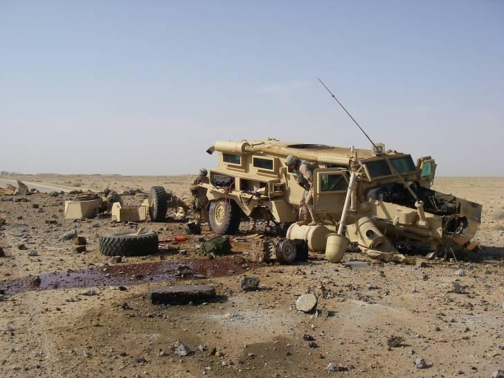The U.S. Army is deploying personal blasts sensors for soldiers to record data from IED attacks (Photo: Cougar vehicle struck by IED, Credit: Department of Defense)