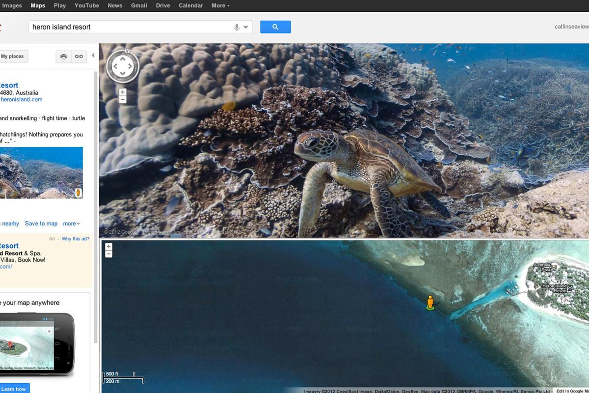 "Google Maps now lets users virtually ""walk"" underwater in Street View to see panoramic views of ocean life and coral reefs from around the world"
