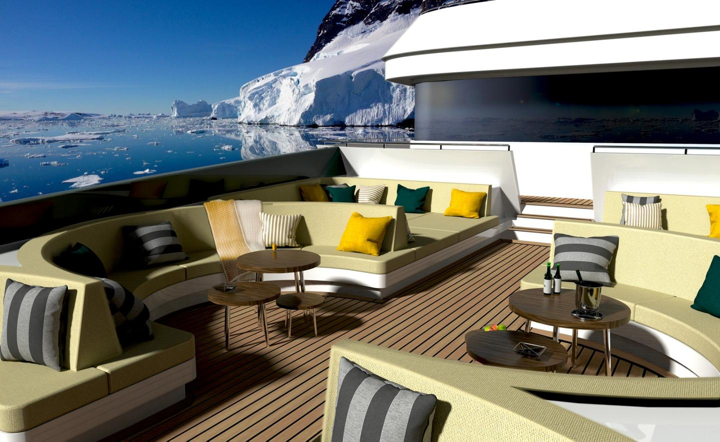 The forward deck is designed for luxury outdoor relaxing with sofas and lounge beds positioned to take in the best forward views on-board the yacht
