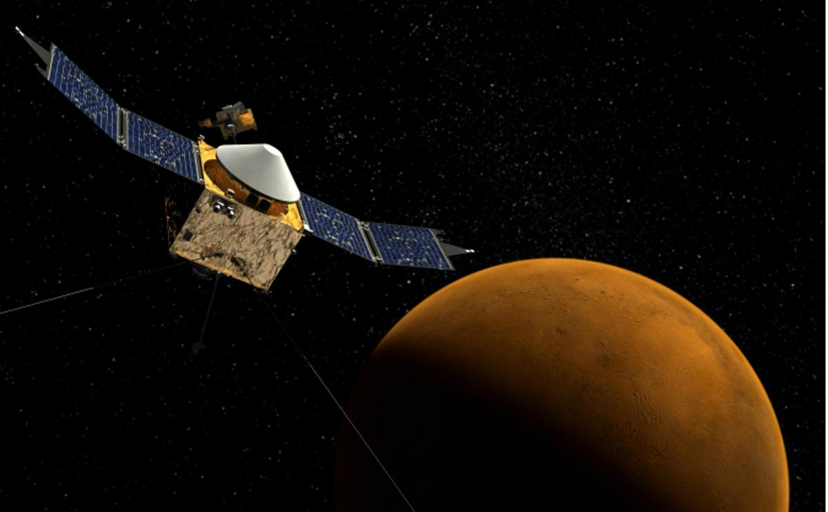 Artist's impression of NASA's MAVEN spacecraft approaching Mars (Image: NASA/Goddard Space Flight Center)