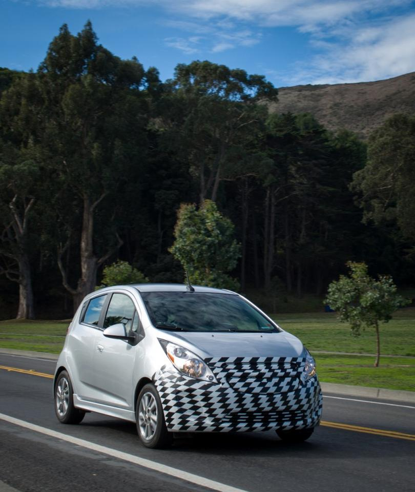 The Chevy Spark EV on the road