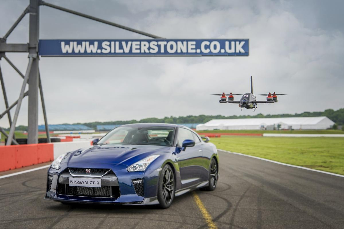 The new Nissan GT-R and the GT-R drone it built specifically for the launch of its 2017 GT-R.