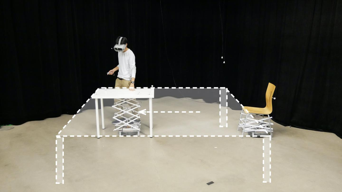 RoomShift can simulate large objects by moving smaller objects to follow a user