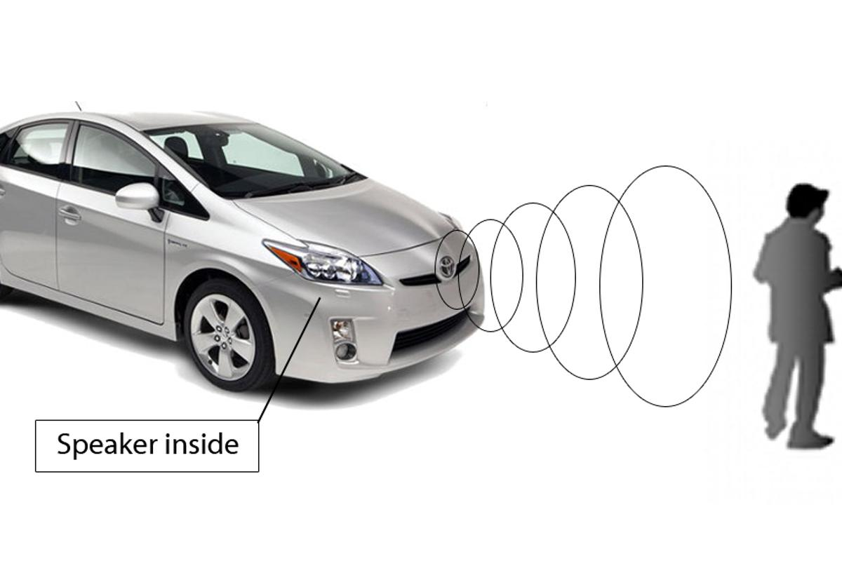 Toyota's onboard audio alert system warns pedestrians of an oncoming vehicle