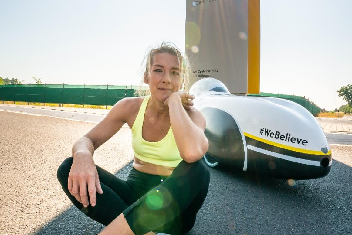Nici Walde with her record-setting velomobile