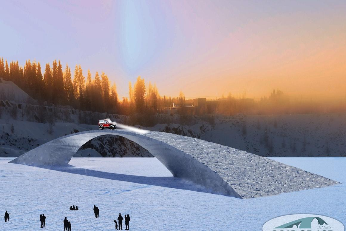 Around 900 tons of pykrete, a frozen water/paper mix, will be used to build the bridge