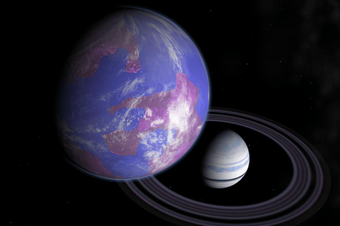 An artist's illustration of an Earth-like exomoon orbiting a Saturn-like exoplanet