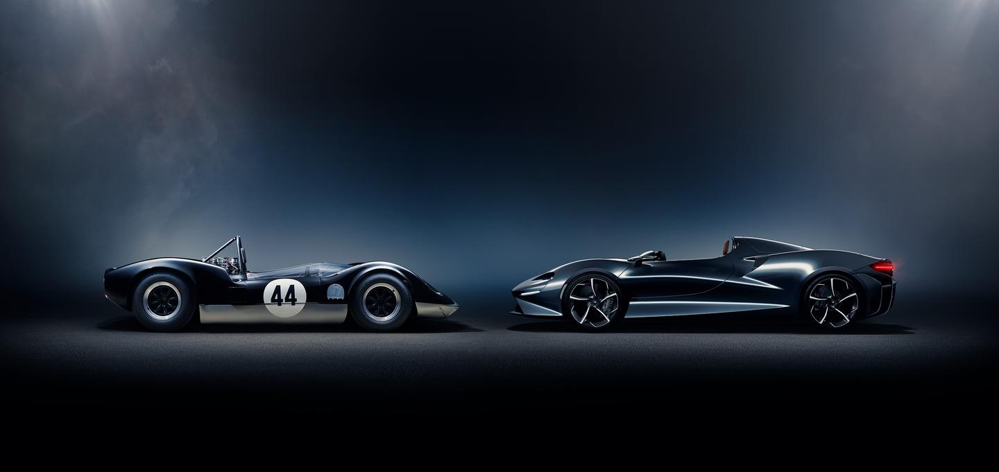 The McLaren-Elva M1A Mk I (left) was the direct inspiration for the McLaren Elva