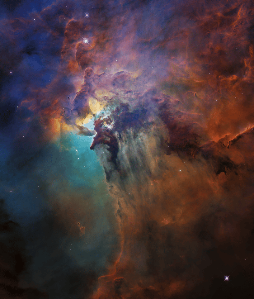 The Lagoon Nebula, a stellar nursery about 4,000 light-years from Earth, captured in visible light by Hubble in February 2018
