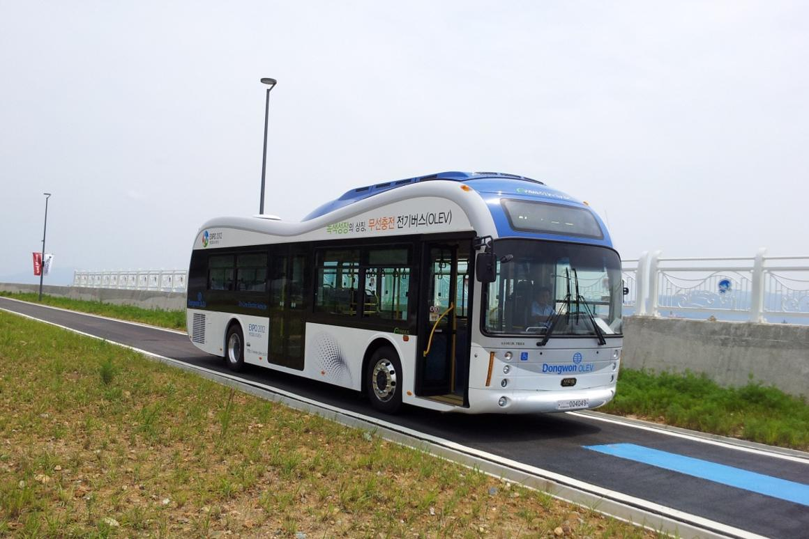 One of Gumi's two new buses that will draw power from the road using the Online Electric Vehicle (OLEV) system