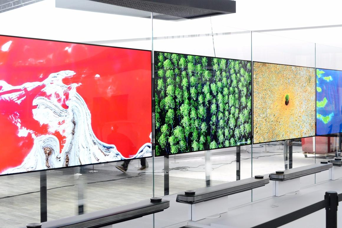 """LG's flagship 77-inch LG Signature OLED TV Wtook out the 2017 CES Best of Innovation Award with its """"Picture-on-Wall"""" design."""
