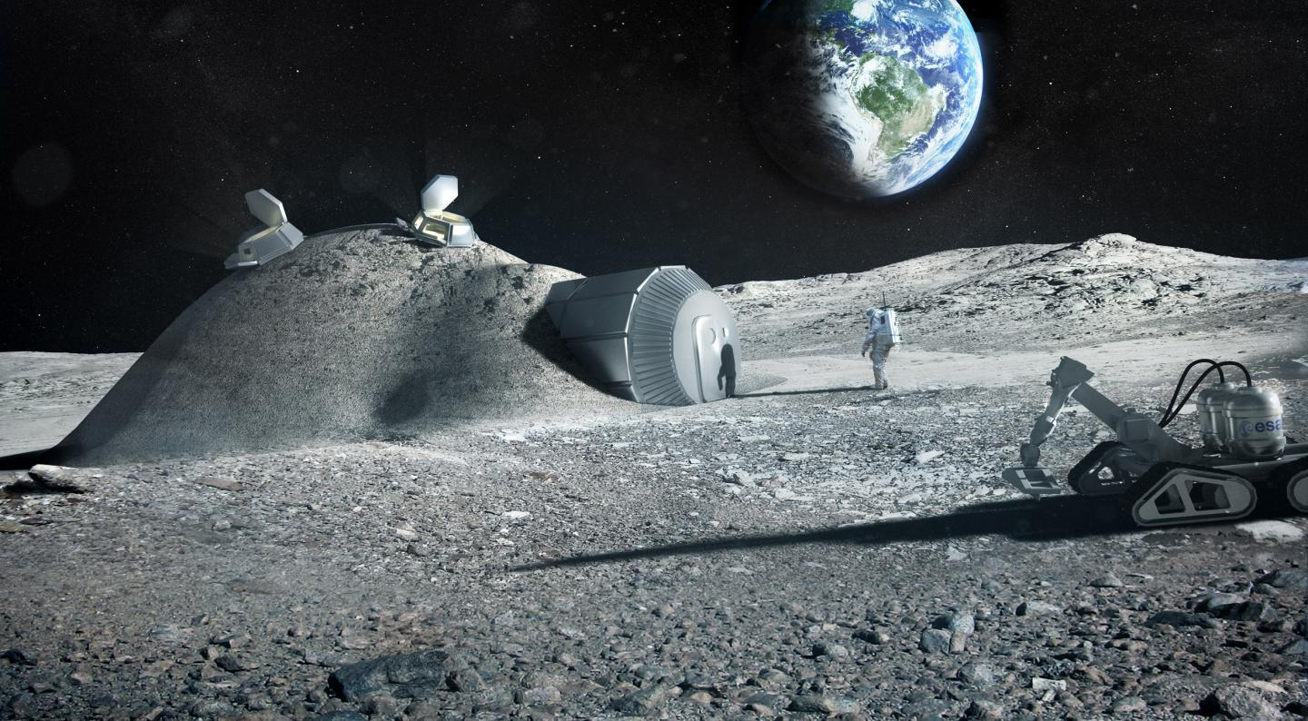 Artist's impression of a habitat on the Moon