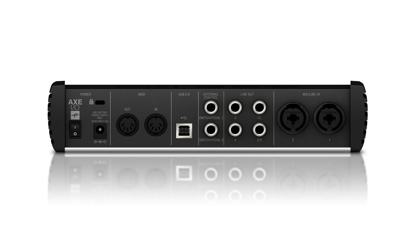 Around back, the Axe I/O has MIDI in and out connectors, controller inputs, XLR ports with phantom power and balanced/unbalanced output jacks