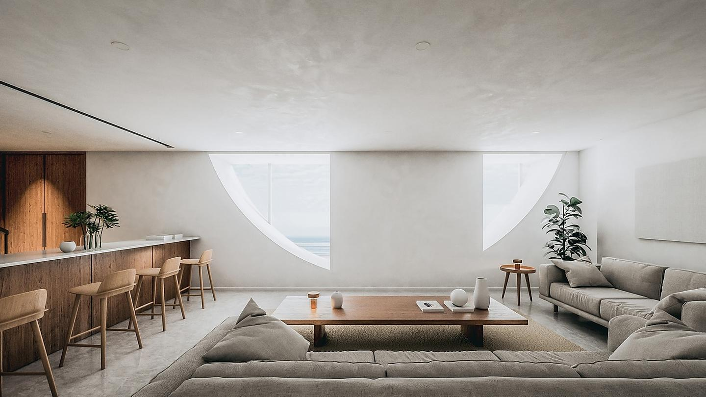 Dune House would consist of two floors, with more private areas like the bedrooms and this living room located downstairs