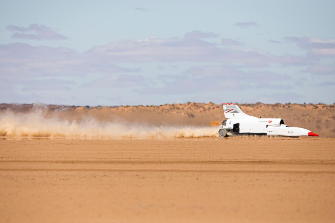 This first outing for the renewed Bloodhound LSR consisted of three separate runs