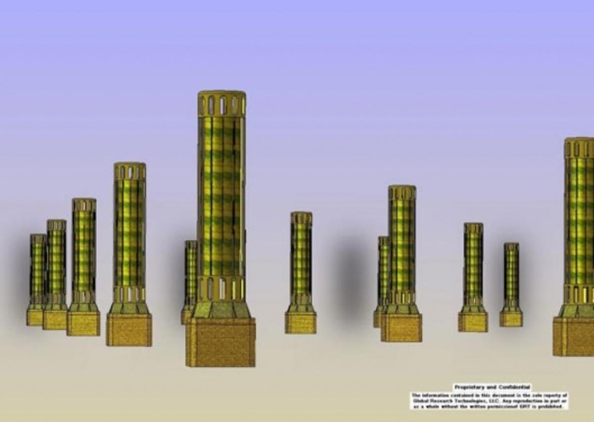 Artist's impression of carbon dioxide capture towers.