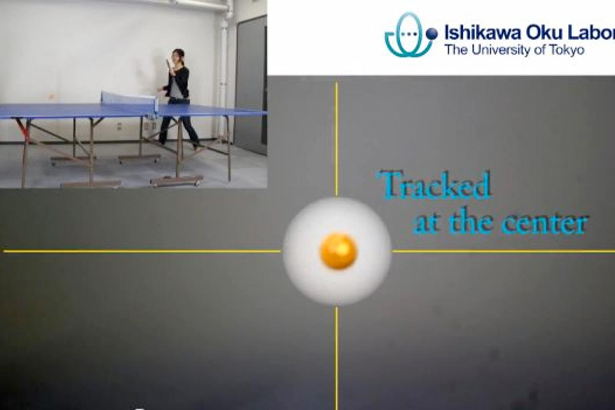 A table tennis game, and the 1ms Auto Pan-Tilt system's shot of the ball