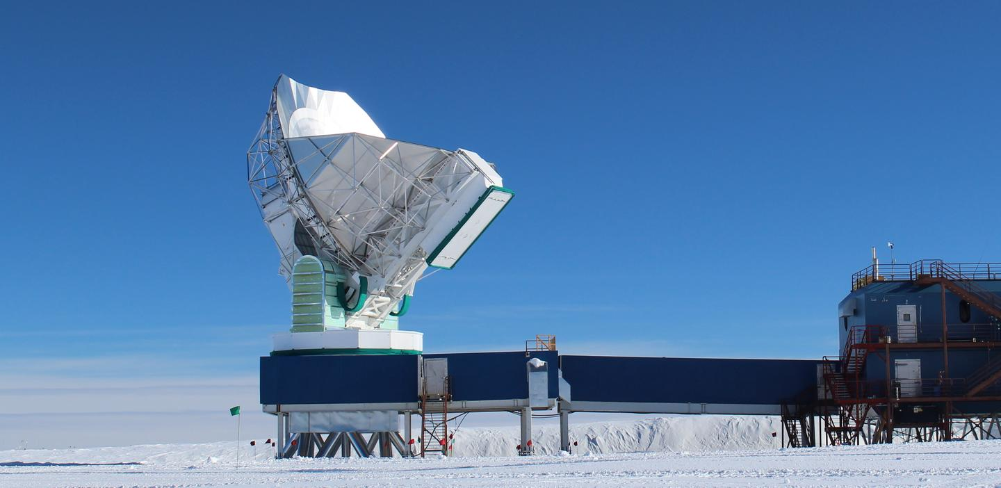 The SPT microwave-detecting instrument is located in Antarctica (Photo: Dan Marrone/UA)