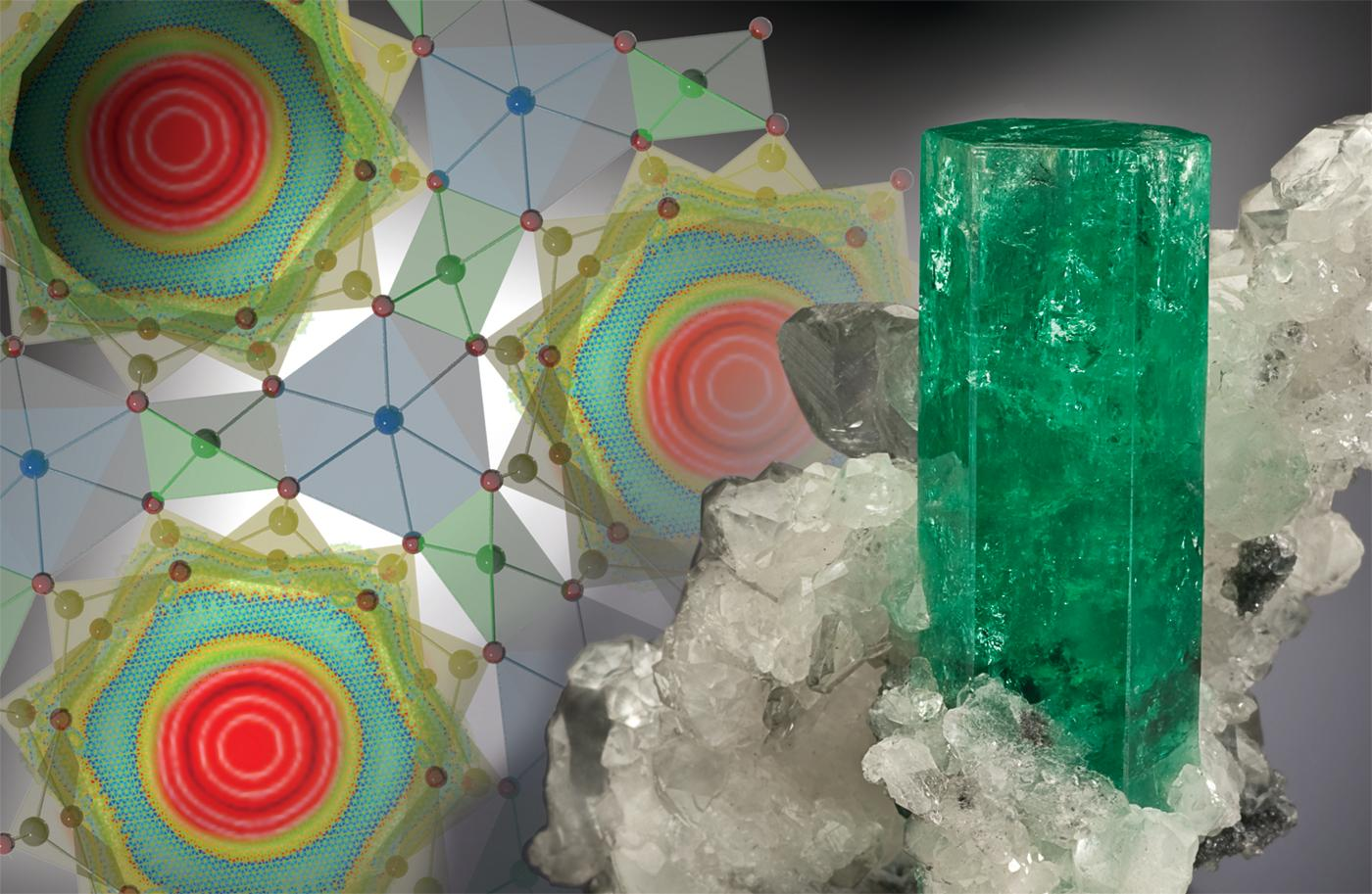 A sample of beryl and an illustration that shows the strange shape water molecules take when found in the mineral's cage-like channels