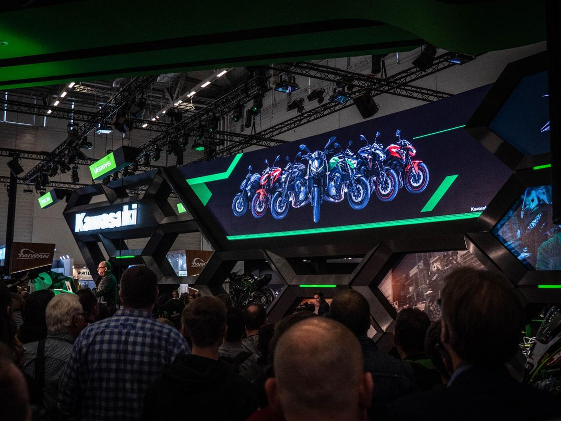 Crowd gatherer for the unveiling of Kawasaki's 2019 lineup at Intermot 2018