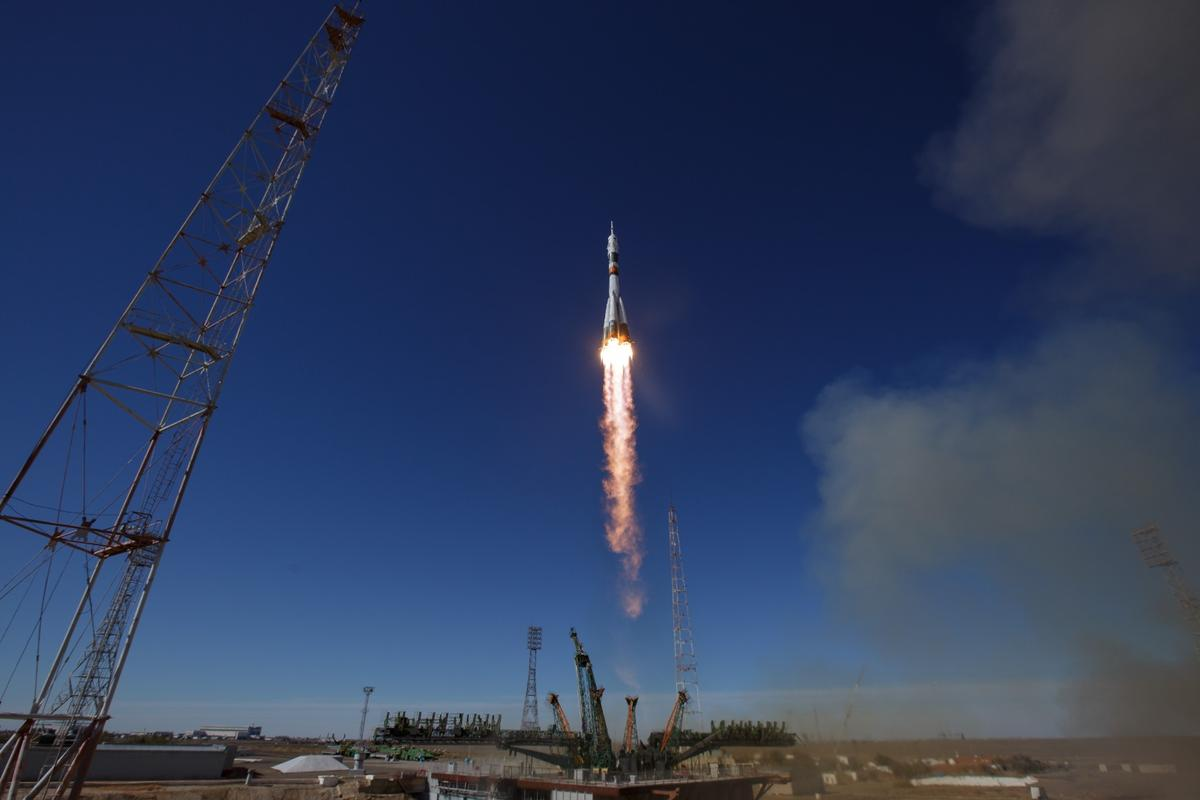 The Soyuz MS-10 lifting off from Baikonur