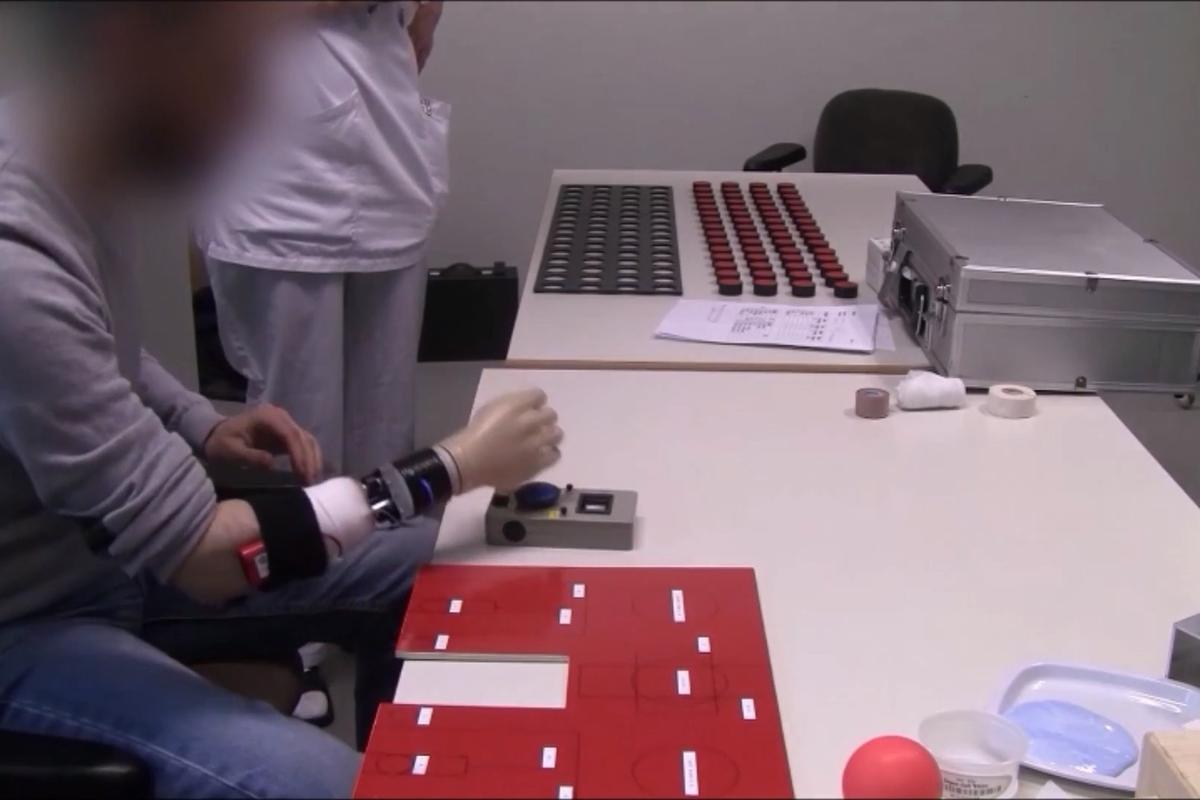 Artificial wrist and hand prosthesis seen during testing