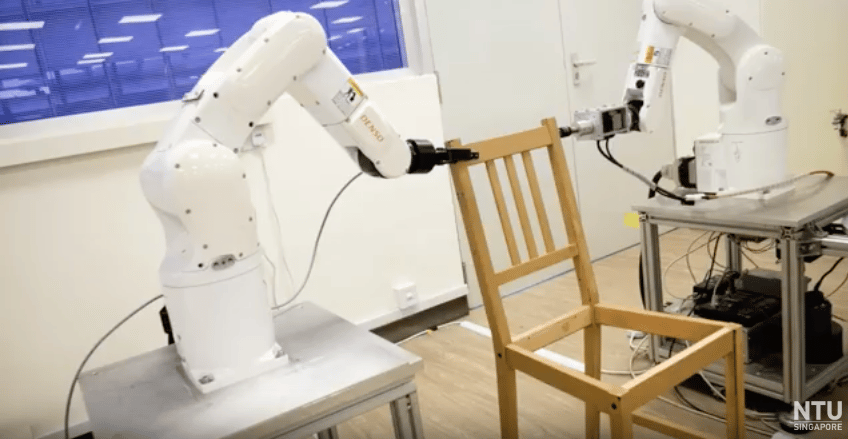 NTU's new robot, built from off-the-shelf components, was able to autonomously assemble an Ikea chair in 20 minutes