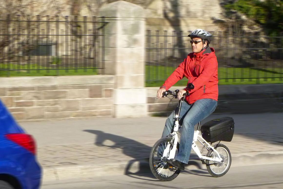 Toronto-based entrepreneur Henry Chong, riding the LIFEbike