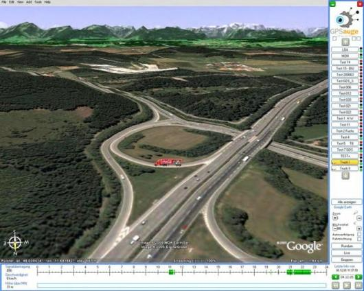"""Interface linking to """"Google Earth"""" three-dimensional representation with latched vehicle symbols in a real environment."""