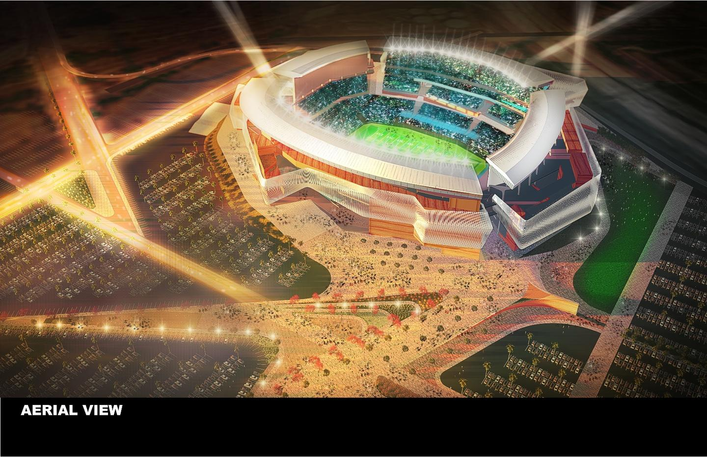"""The stadium features a """"kinetic skin"""" that moves when the wind blows, recreating the sound of the ocean"""