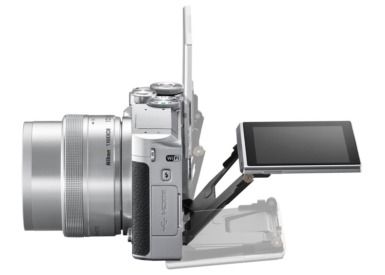 The rear monitor on the Nikon 1 J5 can be tilted to make shooting easier in awkward positions