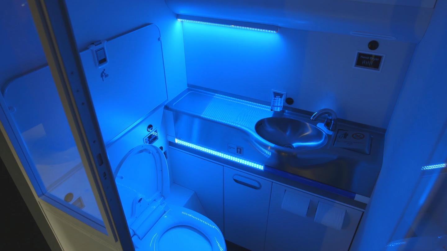 Boeing engineers and designers have developed a self-cleaning lavatory prototype that uses ultraviolet (UV) light to kill 99.99 percent of germs