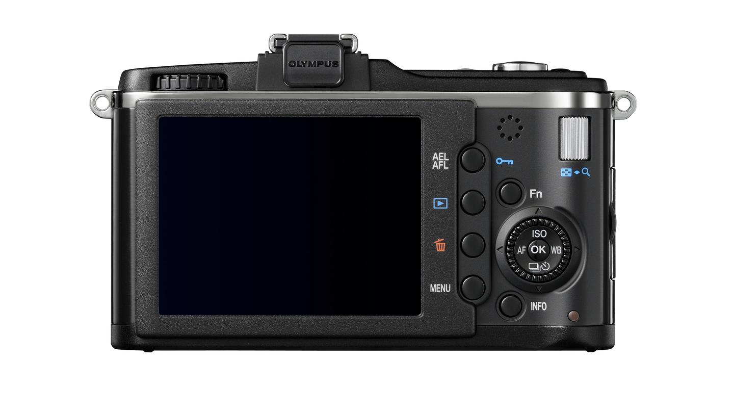 The E-P2 features a new accessory jack above the LCD screen