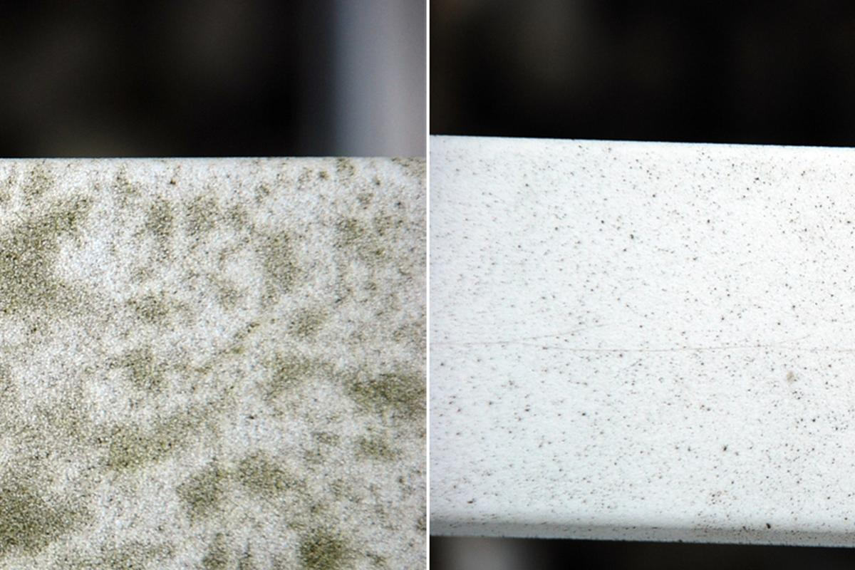 A plastic garden furniture armrest without (left) and with (right) a self-cleaning photocatalytic coating