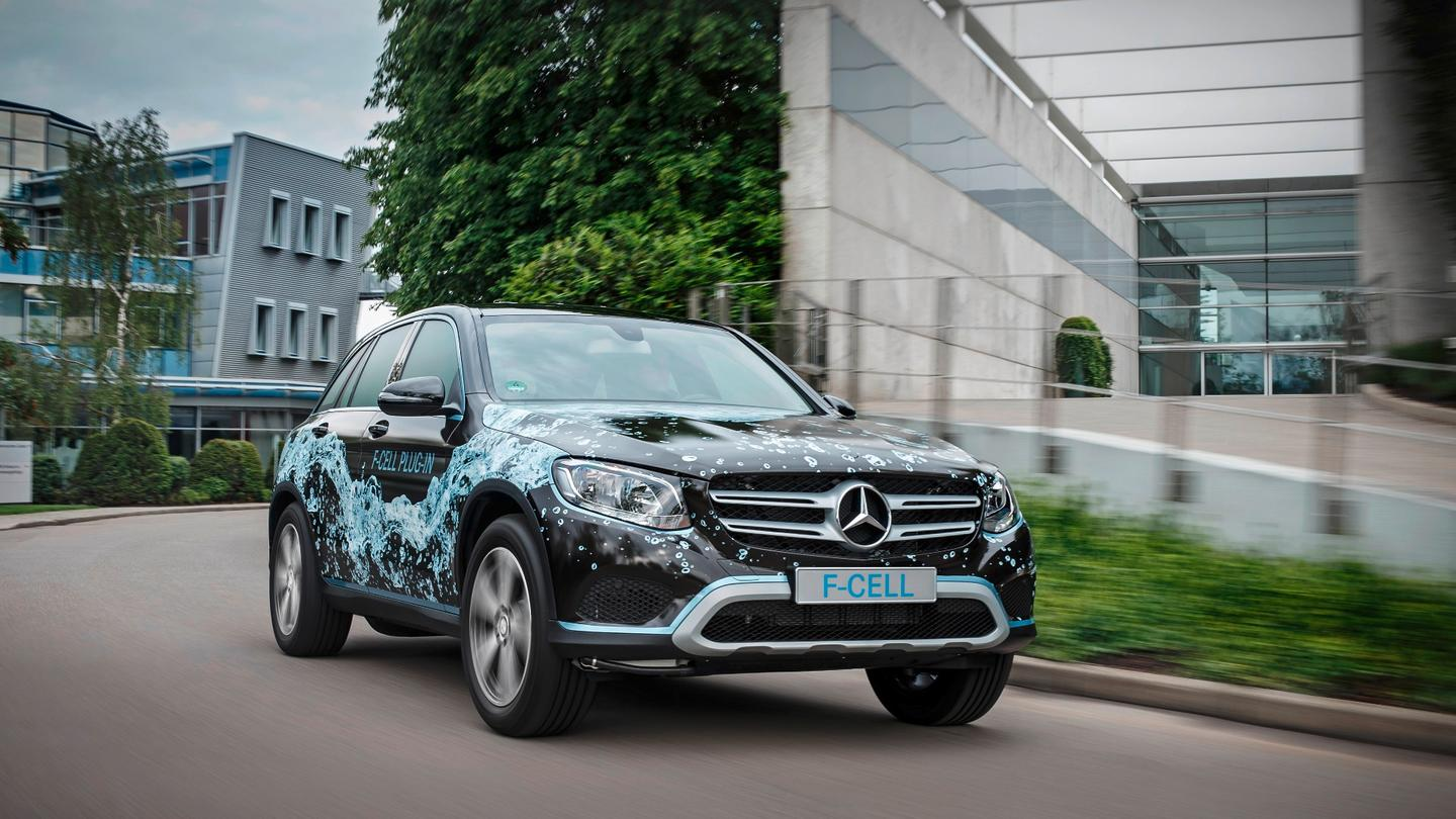 The GLC F-Cell has 4 kg of hydrogen stored in the floor