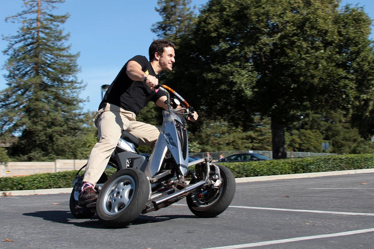 After years in development, Sway Motorsports has unveiled a prototype of its tilting three-wheel electric scooter, one with a rather sportier bent than the tilting electric three-wheelers we've seen before