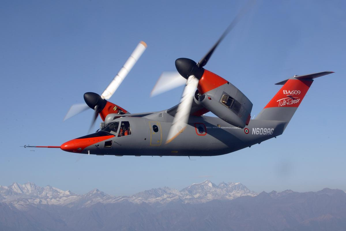 The AW609 tiltrotor aircraft from AgustaWestland combines the benefits of a helicopter with the benefits of a fixed wing aircraft