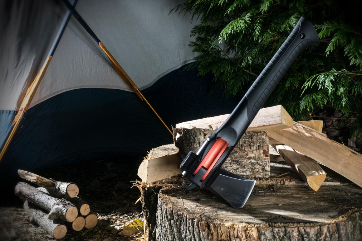"The AM-V2, seen here in ""axe mode,"" is the new-and-improved second version of the previously-released Adventure Mate multi-tool"