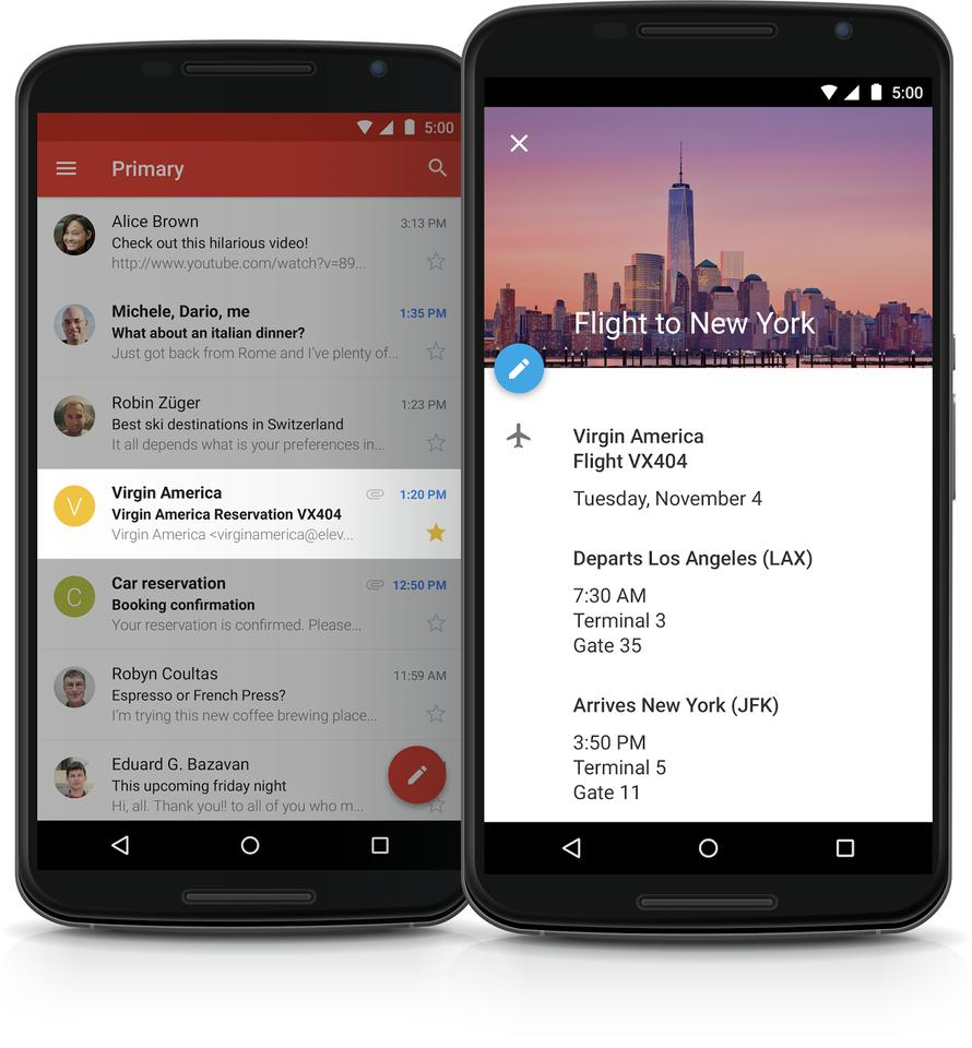 The new calendar app in Android 5.0 pulls in information from Gmail.