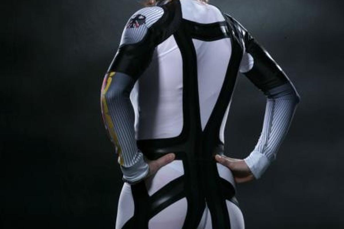 Kati Wilhelm models the Clima TechFit cross-country suit